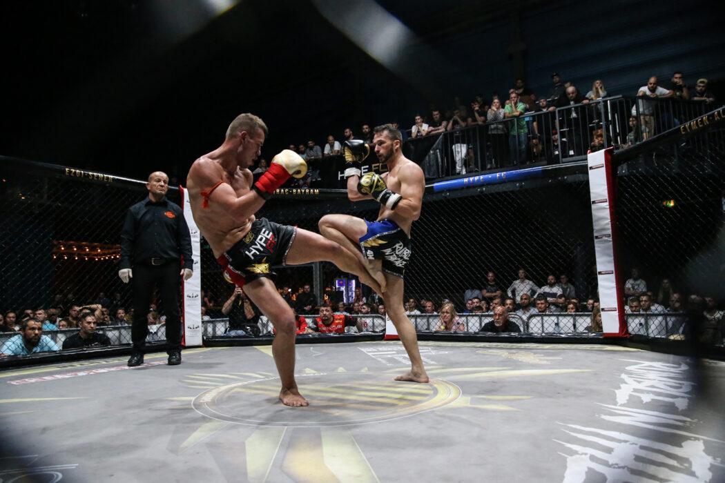 <h5>Hype FC: Boxen, K1, MMA, Bremen, 12.05.2018 K1, Turnier 72 KG, Finale: Daniel Eckert (Samsahai Bremen) - Andre Surenkov (Budox) © Torsten Helmke</h5>